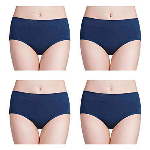 wirarpa Womens Soft Cotton Stretch Underwear 4 Pack Comfortable Mid Rise Briefs Underpants Deep Blue, Size 9