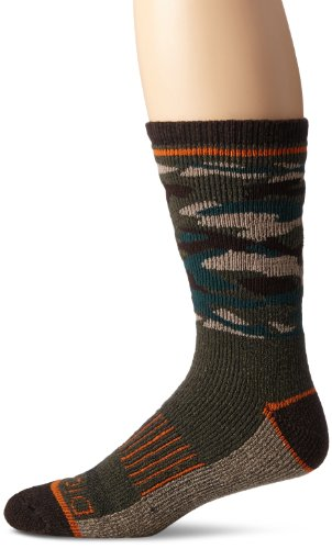 Dickies Men's 1 Pack Steel Toe Wool Blend Camo Crew Socks, Olive With Orange Accent, Sock Size:10-13/Shoe Size: (Accent Wool Blend)