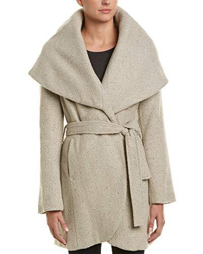 Wool Belted Via Coat (T Tahari Womens Marla Winter Wool Blend Wrap Coat Taupe XL)
