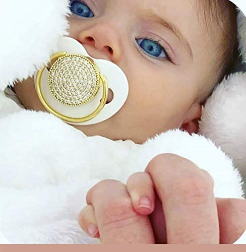 Dollbling Boutique Baby Girl Marble Pacifier Cream Color All Covered Crystals Jewerry Glaring Royal Pacifier and Clips Set