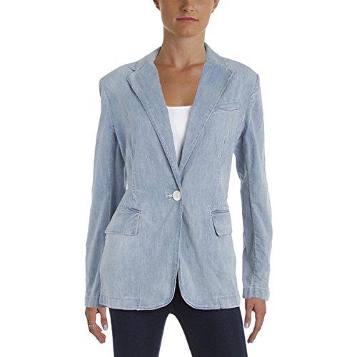 Lauren Ralph Lauren Womens Angona Denim 1 Button Blazer Blue (Denim Womens Blazer)
