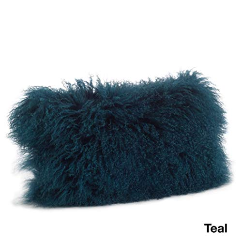 1 Piece Teal Blue Solid Pattern Mongolian Lamb Fur Plush Lumbar Pillow, Elegance Fluffy Touch Texture Design, Glam Luxury Soft & Comfy Decorative Rectangle Cushion, Knife Edged Borders, Polyester Wool ()