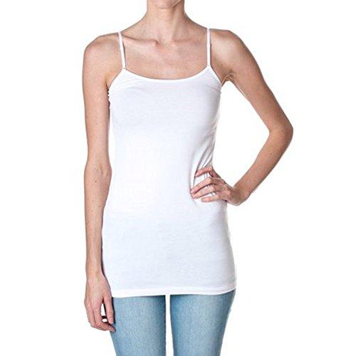 Strap Cami Bra (Active Cami Camisole Built in Shelf BRA Adjustable Spaghetti Strap Tank Top, white, l )