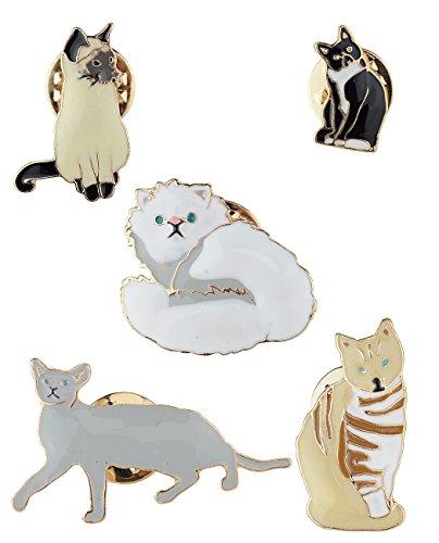 Fun Novelty Colorful Metal Epoxy Enamel Brooch Pin Set, Cats (Button Epoxy)