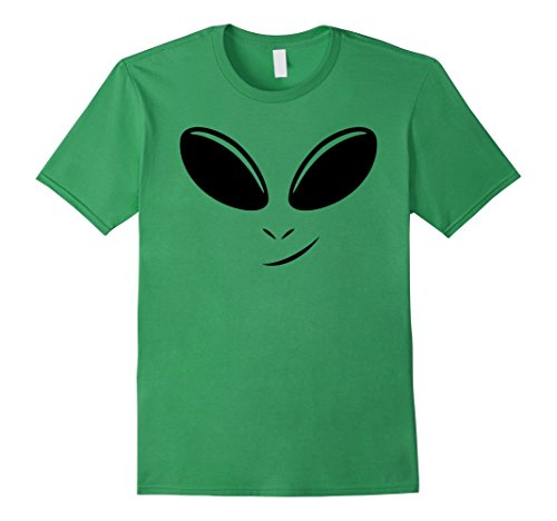 Space Related Halloween Costumes (Mens Alien Face T-Shirt 3XL Grass)