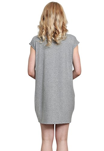 Shirt Dresses Gray Casual Loose T Vislivin Women's Pockets V Dress Simple Plain Cotton Neck Swing 6ZXWFRqW