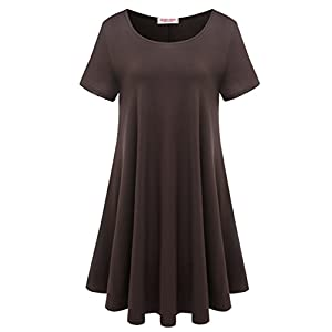 BELAROI Womens Comfy Swing Tunic Short Sleeve Solid T-Shirt Dress