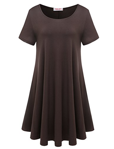 BELAROI Womens Comfy Swing Tunic Short Sleeve Solid T-Shirt Dress (S, ()