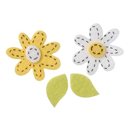 Darice Bulk Buy DIY Kids Felties Felt Stickers Stitched Daisies White and Yellow 60 Pieces (3-Pack) FLT-1010