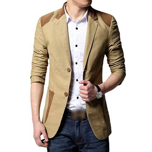 Emmay Cappotto Calda Outwear Essenziale Blazer Cuciture Uomo Khaki Business A Fit Slim Monopetto Chic Bottoni Giacca 2 Casual rrBZwx7qg