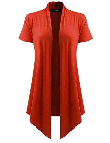 - All for You Women's Soft Drape Cardigan Short Sleeve Dark Orange Large
