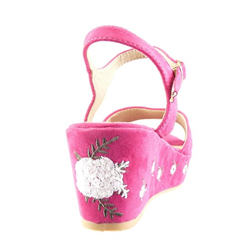 Mules Sandalias Bordado Plataforma Flores 6 Moda Fushia Cm Zapatillas Mujer Angkorly 5 tHqW7w1n