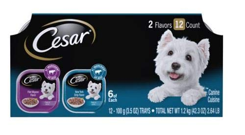 PACK OF 5 - Cesar Gourmet Filets Variety Pack Filet Mignon & New York Strip Flavor Dog Food (12 Count) by Cesar