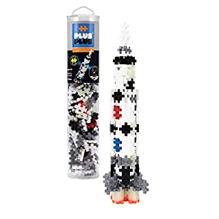 PLUS PLUS – Mini Maker Tube – Saturn V Rocket, Apollo 11 Space Playset – 240 Piece, Construction Building STEM   STEAM Toy, Interlocking Mini Puzzle Blocks for Kids
