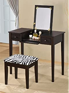 Dark Wood Vanity Table. Contemporary Vanity Set with Flip Mirror Top and Zebra Print Stool Espresso  Finish Amazon com Dark Oak Wood by Acme Furniture
