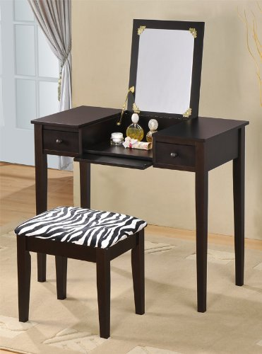 Amazon.com: Contemporary Vanity Set With Flip Mirror Top And Zebra Print  Stool Espresso Finish: Kitchen U0026 Dining