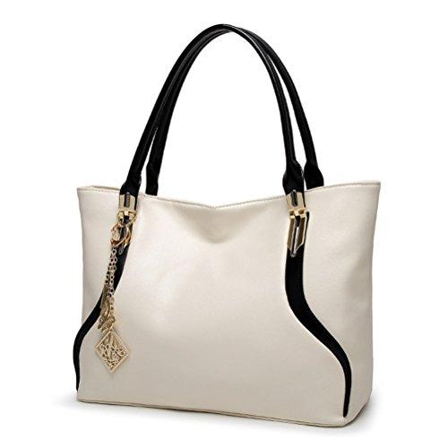 à Tout en avec Grand ZHRUI Femme Sac Sac Sac Simili Grand Fourre Cabas Bicolore Capacité Blanc Main Décorations Cuir EwqxvOAqX