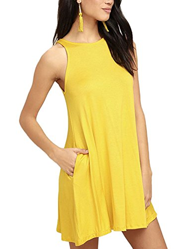 Women's Sleeveless Summer Swing Tank Sundress Yellow Small (Yellow Casual Dress)