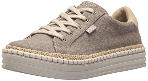 Skechers BOBS Women's Burlap Wedge Espadrille Fashion Sneaker, Taupe, 6 M US