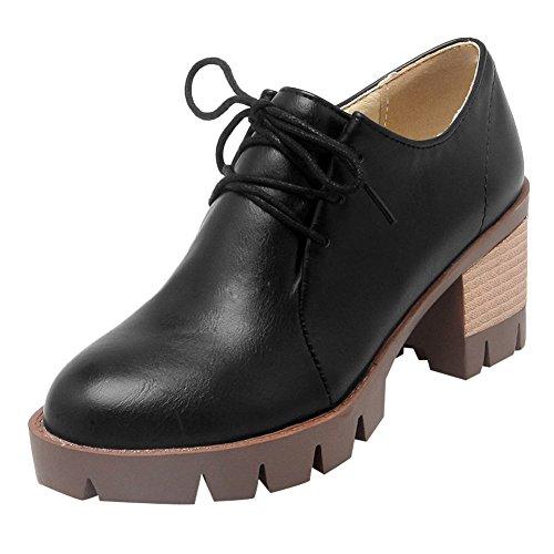 Charme Voet Dames Western Lace Up Dikke Hoge Hak Oxford Schoenen Zwart