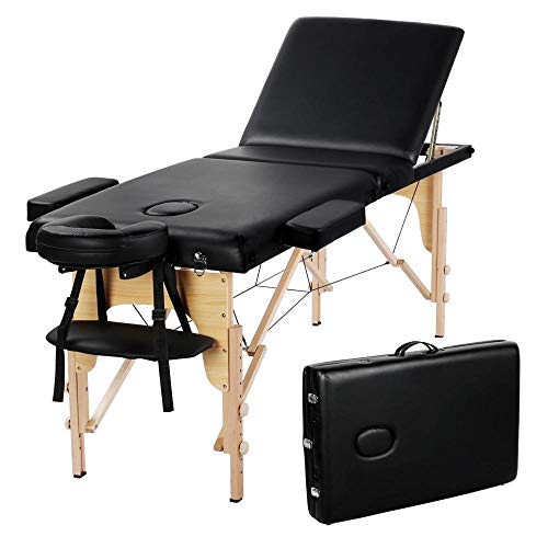 Yaheetech 84inch Portable Folding Massage Table Facial Slaon SPA Bed With Carry Case, 3 Fold, Extra Wide, Black.