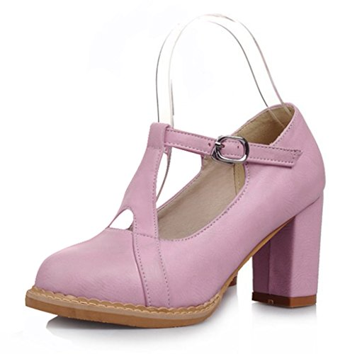 Round Womens Shoes Top Purple Buckle Strap Low Toe Chunky Easemax Mid Sweet Stitching Pumps Heel p8xff1