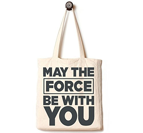 [Upgraded] Andes Heavy Duty Gusseted Canvas Tote Bag, Handmade from 12-ounce Pure Cotton, Perfect for Shopping, Laptop, School Books, May The Force be With You]()