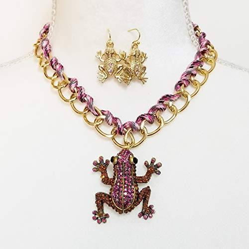 - Crystal Enamel Gold Chain Necklace Earrings Betsey Johnson Frog Pendant One of a Kind