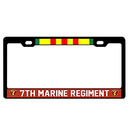 (7th Marine Regiment Vietnam Veteran License Plate Frame Universal - 2 Holes Military License Plate Frame, US Car Tag and Screws)