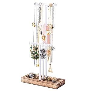 Love-KANKEI Jewelry Tree Stand White Metal & Wood - Basic & Large Storage Necklaces Bracelets Earrings Holder Organizer