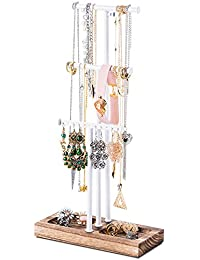 Jewelry Tree Stand White Metal & Wood - Basic & Large Storage Necklaces Bracelets Earrings Holder Organizer Torched Finish