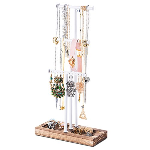 Love-KANKEI Jewelry Tree Stand White Metal & Wood - Basic & Large Storage Necklaces Bracelets Earrings Holder Organizer Torched Finish by Love-KANKEI