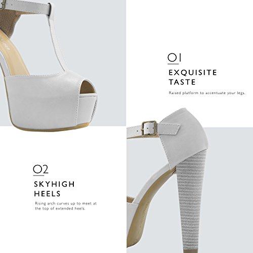 DailyZapatos Mujeres Peep Toe Platform Sandal Pumps Toe Hebilla De Tobillo Con Correa En T Extreme Party Vestido De Noche Zapatos Casual Pu Blanco