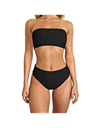 OcEaN Swim Women Bikini Set Swimwear Push-Up Padded Sexy Print Tube Top Swimsuit