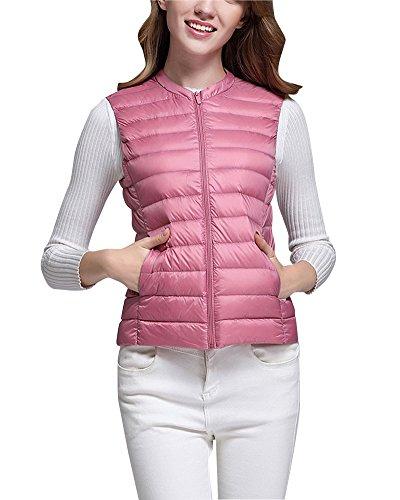 Chaquetas Light Pink Cuello Plegable Ultra Chaleco Mujer Pluma ZhuiKun de Down Sin OaEvvw