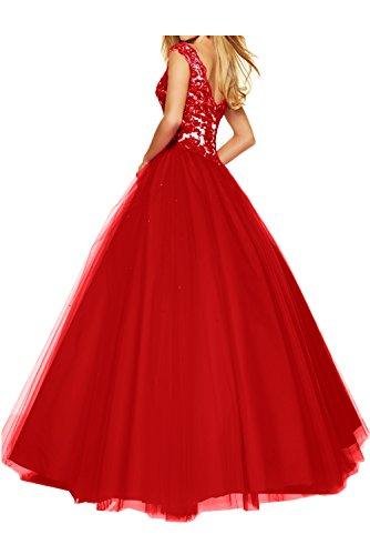 Toskana Braut - Abito da sera da donna, lungo, con scollatura a V e pizzo, in tessuto tulle, colore: rosso uva 48