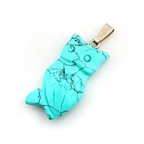Owl Healing Chakra Charm Beads Gemstone Crystal Quartz Stone Color Opal Pink Turquoise Lapis Lazuli Pendants Necklace Jewelry with Wax Cord (Turqupise)