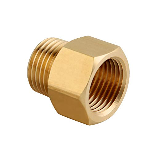 G 1/2 Male Thread to US 1/2 NPT Male Thread Pipe Fitting Converter Adapter, Solid Brass