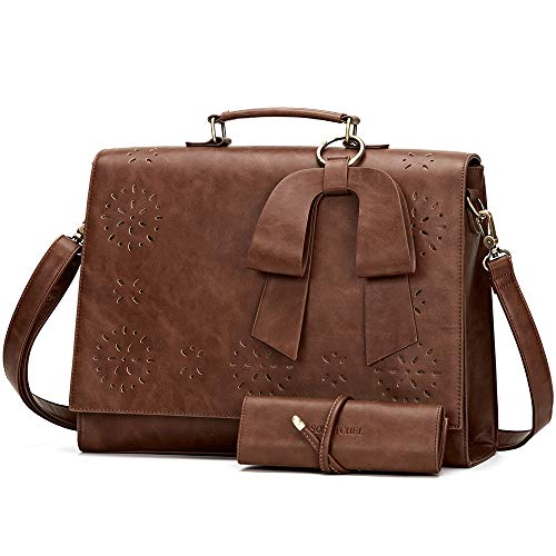 SOSATCHEL Women Leather Messenger Laptop Shoulder Bag Briefcase Satchel Purse Handbag Fit 15.6 inch Notebook, Brown