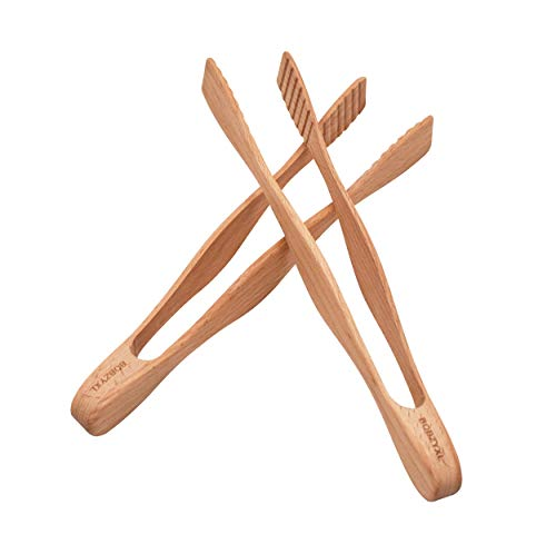 Kitchen Tong Set 10.5-Inch Wooden Toaster Tongs, Food Tongs 2-piece