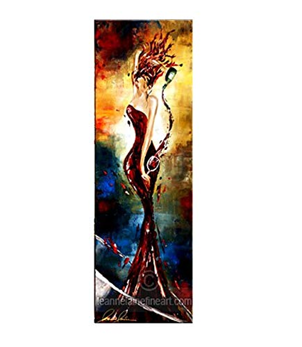 Leanne Laine Temptress Tempranillo - Authentic Signed & Textured Stretched Canvas Limited Edition Giclee Art Print of her Original Acrylic on Canvas Women in Wine Painting (Signature Series)