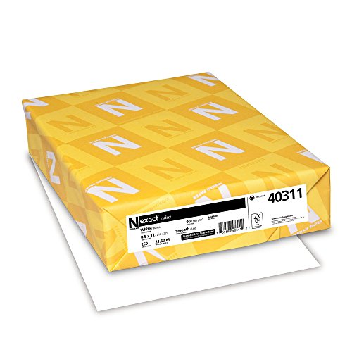 Neenah Exact Index Card Stock, 8.5 x 11 Inch, 65 lb, White, 75 Sheets