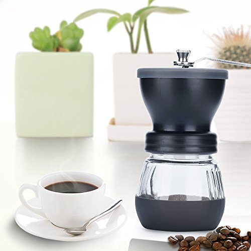 Manual Coffee Grinder with Conical Ceramic Burr - Because Hand Ground Coffee Beans Taste Best, Infinitely Adjustable Grind, Glass Jar, Stainless Steel Built To Last, Quiet and Portable by WELLMON (Image #4)