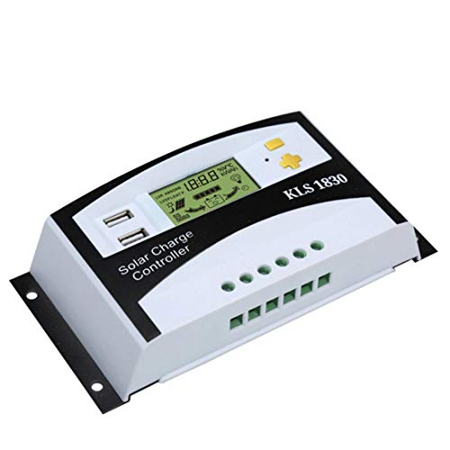 MATCHANT Solar Charger Controller Solar Panel Regulator LCD Liquid Crystal Display PWM Charging Regulator 30a 12V / 24V Dual-use Temperature Sensor Auto Adjustment Switch Overload Protection