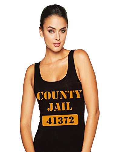 Hot Ass County Jail Year Round Funny Inmate Costume 613 Racerback TankTop Blk XL