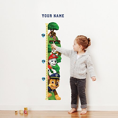 Paw Patrol Personalized Growth Chart Wall Decal for Nursery, Kids Room by Oliver's Labels