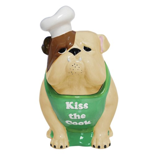 Bulldog Ceramic Cookie Jar<br>Kiss the Cook<br>Approx 10.5 x 8.5 x 14.8 inches