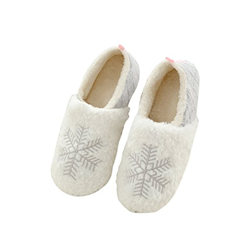 001 Fuzzy Home Snowflake Warm Slippers Fleece Plush Girls Booties Women's Sole Indoor Soft 718wq