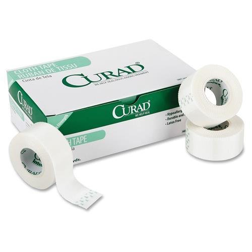 Curad Cloth Silk Adhesive Tape, 1'' x 10 yd, White (Case of 120 Rolls)