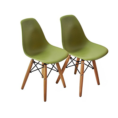 Buschman Set of Two (2) Green - Kids Eames Style Retro Modern Dining Room Mid Century Shell Chair Metal Natural Wood Dowel Leg Base Plastic Molded Armless No Arm Arms Children Kid Designer Side Chairs